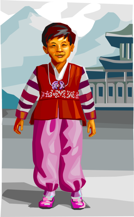 Vector Illustration of Traditional South Korean Clothing Clothes for Boy