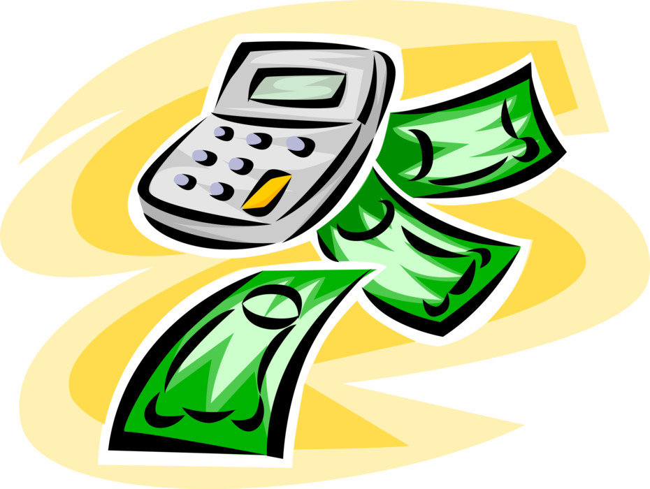 Vector Illustration of Calculator Portable with Cash Money Dollar Bills