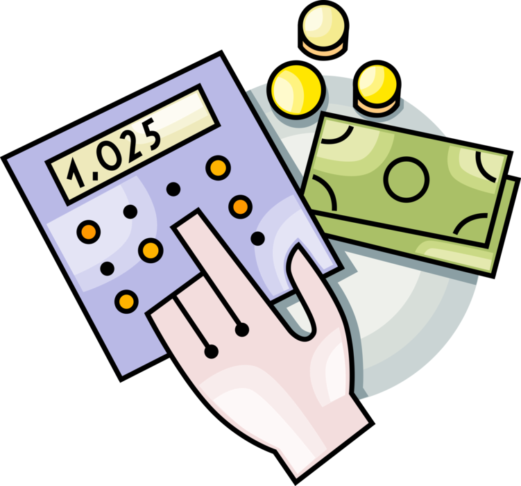 Vector Illustration of Hand Calculates Cash Money Dollar Value with Calculator