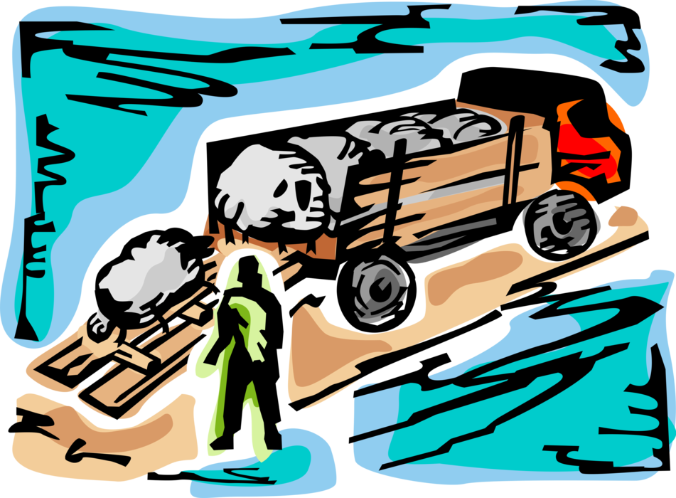 Vector Illustration of Farmer Unloads Sheep Livestock Farm Animals from Transport Truck in Farming Operation