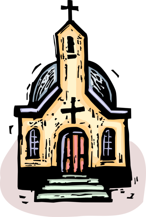 Vector Illustration of Christian Religion Church House of Worship with Steeple