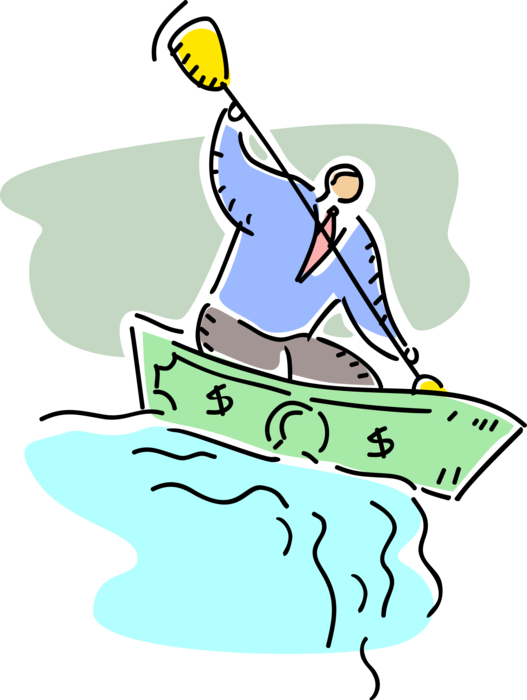 Vector Illustration of Headstrong Businessman Rows Financial Cash Money Dollar Boat Over Waterfall into Impending Peril