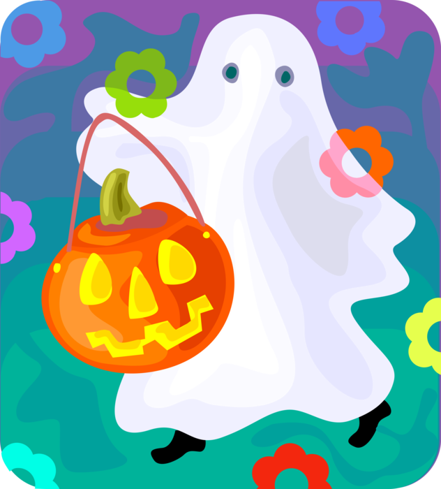 Vector Illustration of Halloween Trick or Treat Ghost Phantom, Apparition, Spirit, Spook with Jack-o'-Lantern Pumpkin