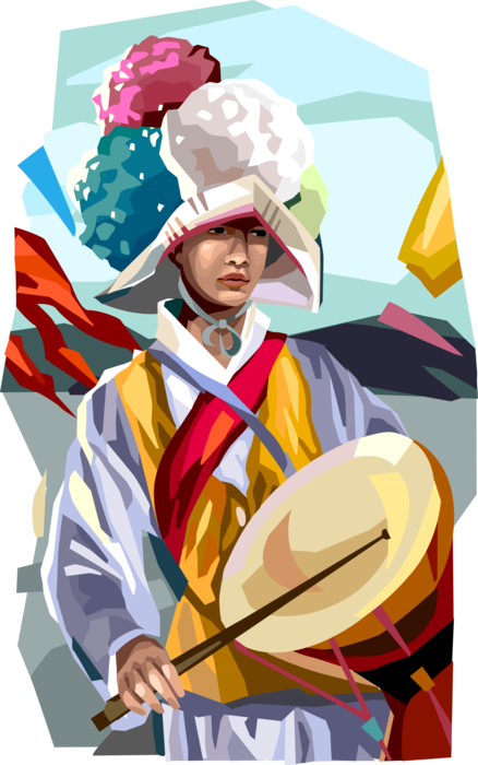 Vector Illustration of South Korea Chuseok Full Moon Harvest Festival - Gama Fight Game