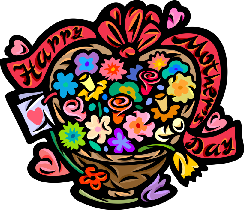 Vector Illustration of Happy Mother's Day Flower Basket Gift with Ribbon Banner and Bow