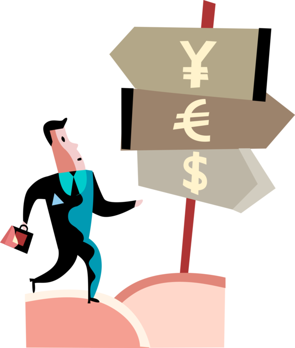 Vector Illustration of Businessman Investor with Investment Option Financial Currency Direction Arrow Signs