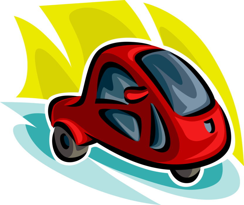 Vector Illustration of Energy Efficient Motor Car Automobile Vehicle