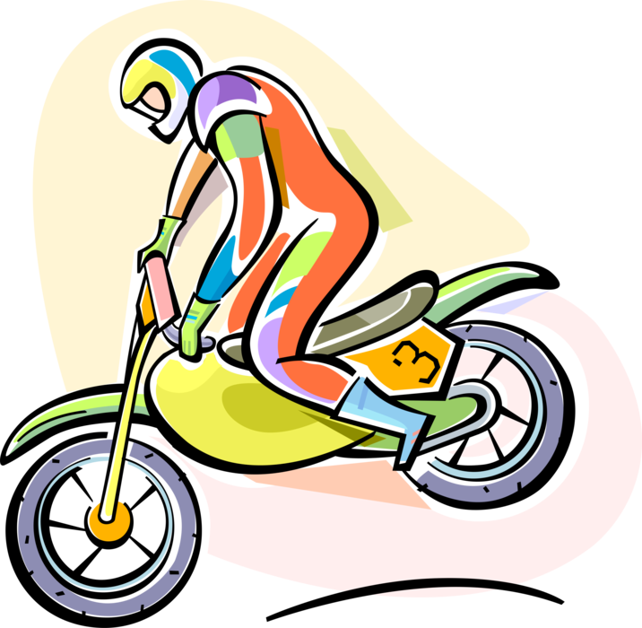 Vector Illustration of Motocross Racer Racing in Off-Road Circuit Motorcycle Race