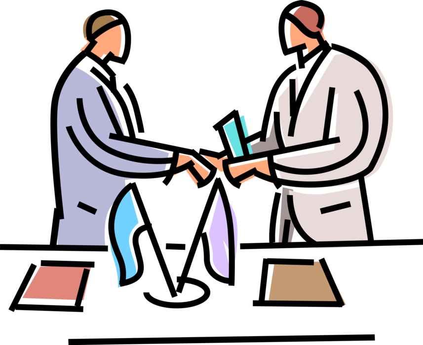 Vector Illustration of International Business Partners Shaking Hands Meet with Introduction Greeting or Agreement Handshake