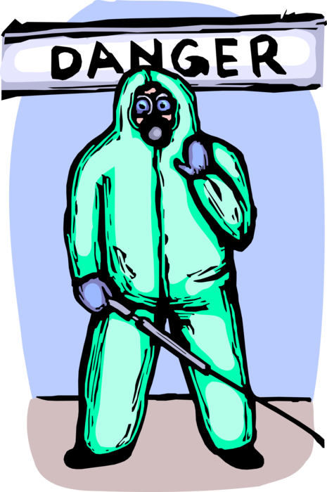 Vector Illustration of Homeland Security Personnel Wears Biohazard Toxic Chemical Suit with Decontamination Spray