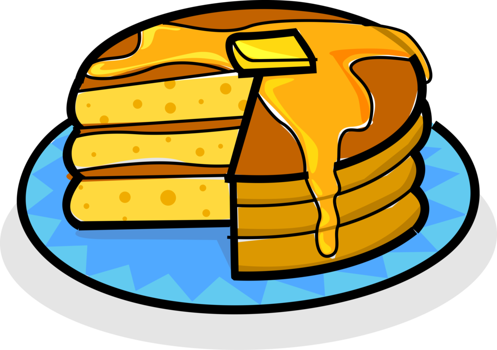 Vector Illustration of Stack of Breakfast Pancakes or Flapjacks with Butter and Maple Syrup
