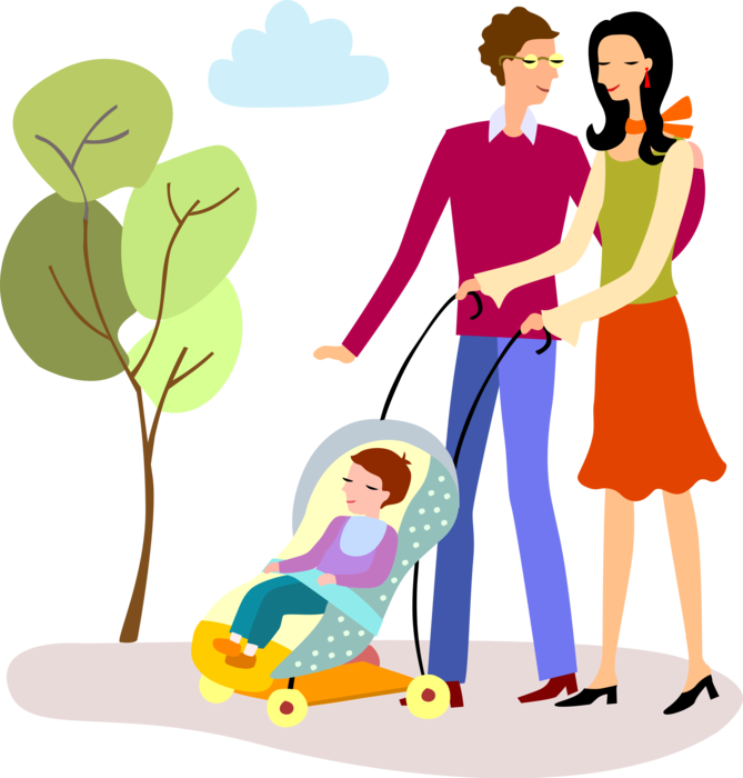 Vector Illustration of Young Married Couple Husband and Wife New Family Walking with Infant Child in Stroller