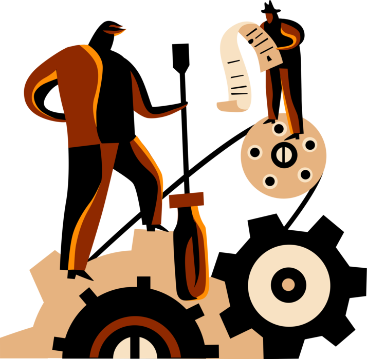 Vector Illustration of Businessman Halts Industrial Manufacturing Cogwheel Gears of Production with Screwdriver Tool