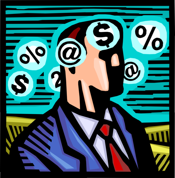 Vector Illustration of Businessman Contemplates Corporate Finance Profit Margins with Cash Money Dollars and Email @ Sign
