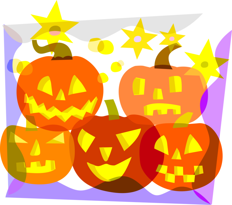 Vector Illustration of Halloween Carved Pumpkin Jack-o'-Lanterns