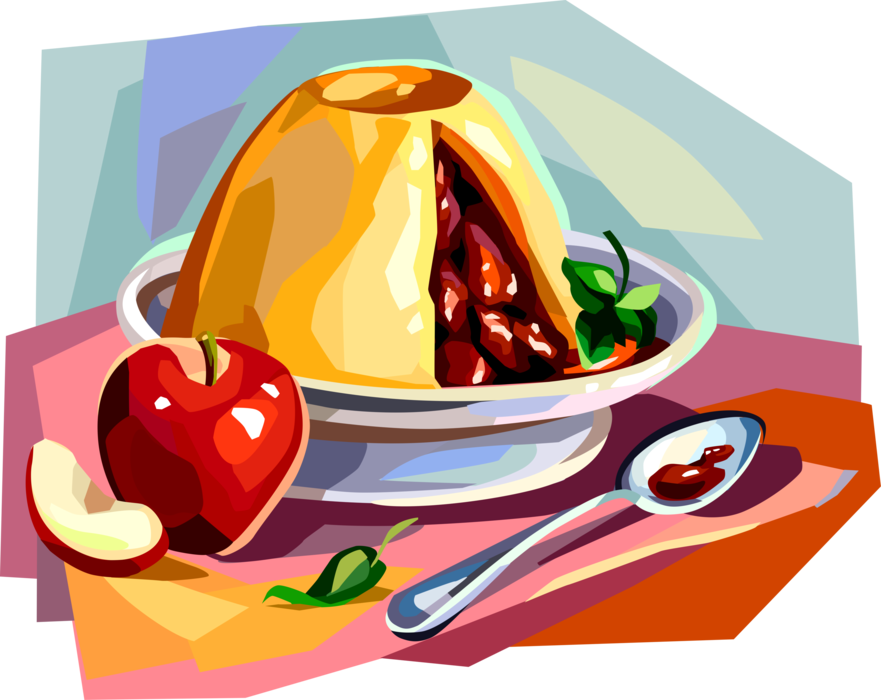Vector Illustration of Traditional British Cuisine Dish, Apple Pudding Dessert