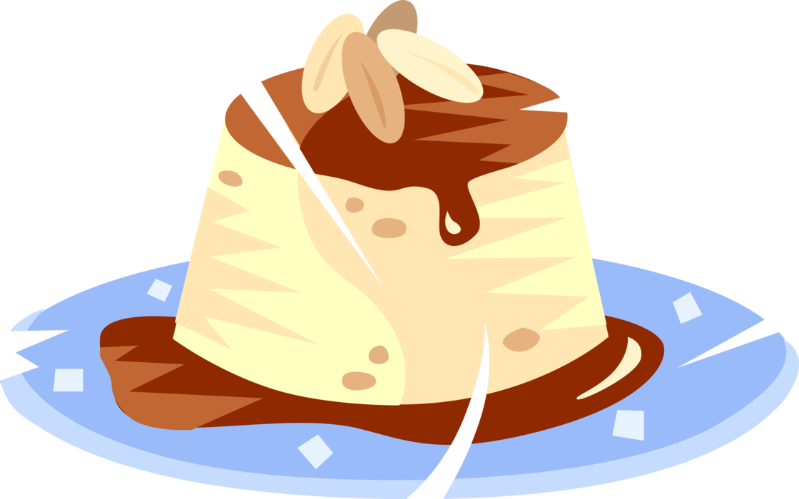 Vector Illustration of Custard Pudding Cake Dessert on Plate