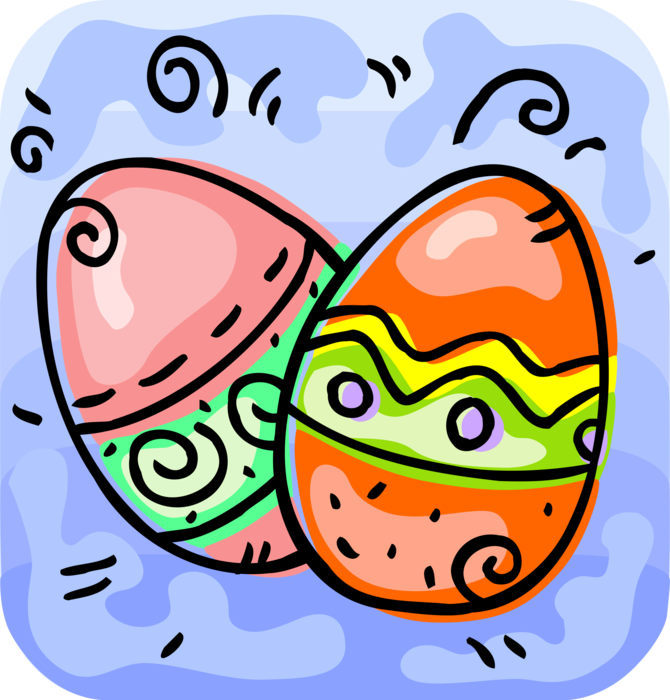 Vector Illustration of Decorated Colored Easter or Paschal Eggs Celebrate Springtime and Easter Season