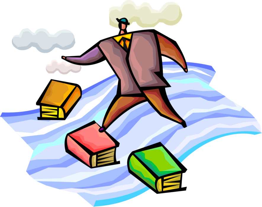 Vector Illustration of Businessman Uses Knowledge and Experience to Navigate Crossing of Dangerous Waters