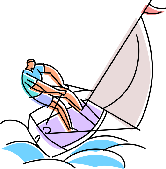 Vector Illustration of Sailor Sails Sailboat Watercraft Vessel Sailing in Rough Ocean Waves on Windy Day