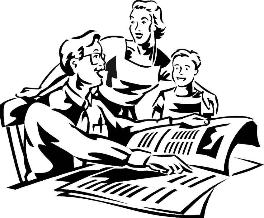 Vector Illustration of Father in Family Reads Newspaper Article with Wife and Son