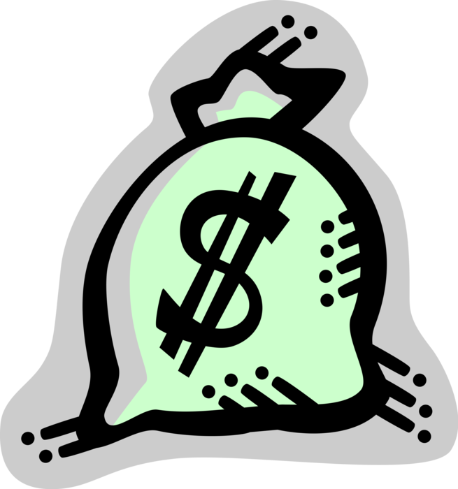 Vector Illustration of Money Bag, Moneybag, or Sack of Money used to Hold and Transport Coins, Cash and Banknotes