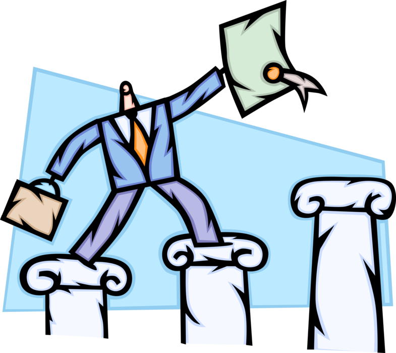 Vector Illustration of Businessman Climbs Pedestal Steps to Business Success with New Business Contract