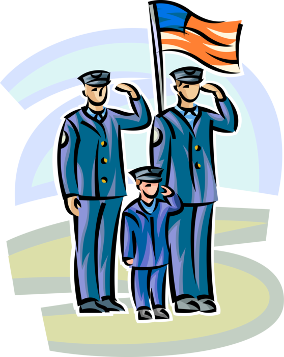 Vector Illustration of Law Enforcement Police Officers Pay Tribute to Fallen Comrades in Line of Duty
