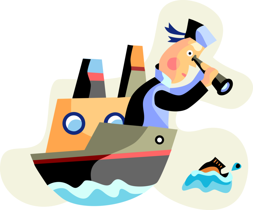 Vector Illustration of Commercial Fisherman Angler on Watercraft Fishing Vessel Trawler Boat on the Lookout for Fish in Ocean