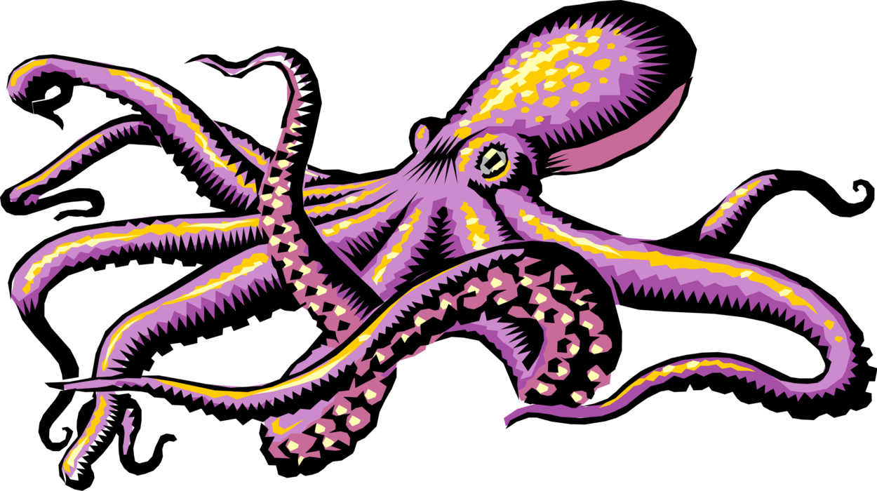 Vector Illustration of Giant Octopus Cephalopod Mollusc or Mollusk Sea Monster Kraken