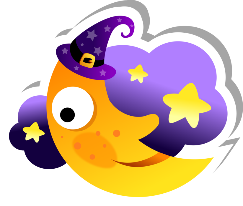 Crescent Moon and Cloud Sticker