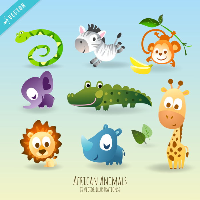 Children's Storybook Vector Playful African Animal Characters with Personality