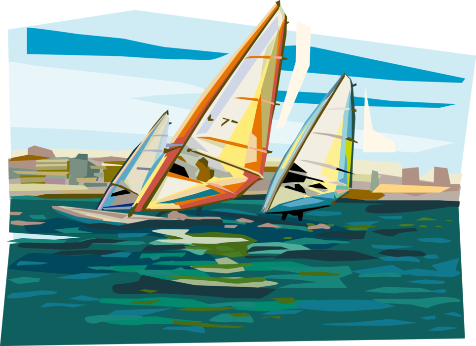 Vector Illustration of Windsurfers on Sailboards Windsurfing on Water