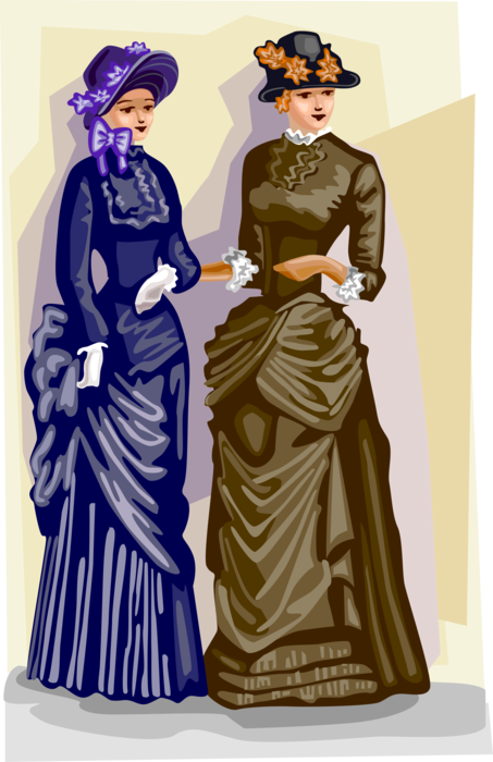 Vector Illustration of 19th Century Victorian Era Women's Fashion Garment Dresses