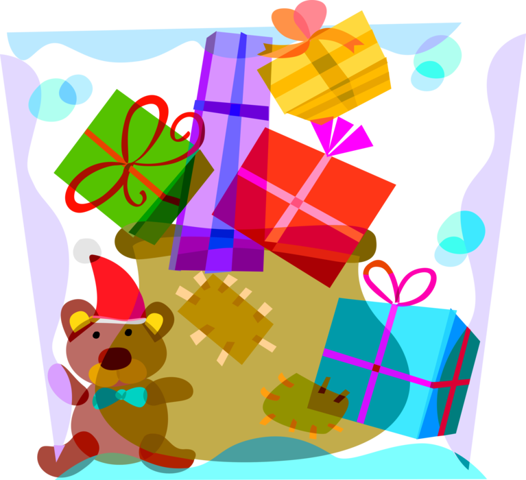 Vector Illustration of Santa Claus' Sack of Gift Wrapped Christmas Presents, Stuffed Animal Teddy Bear