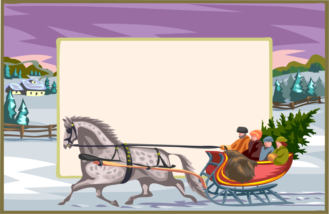 Vector Illustration of 19th Century Victorian Era Family Cuts Christmas Tree with Horse Drawn Sleigh in Winter Landscape