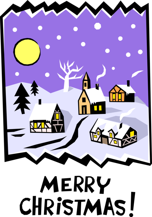 Vector Illustration of Merry Christmas Winter Village Scene