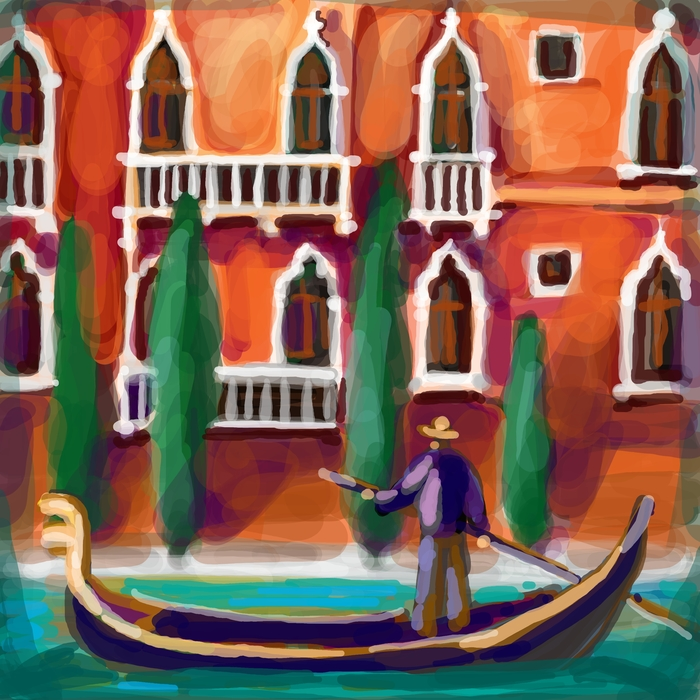 Venetian Man In His Gondola In Venice