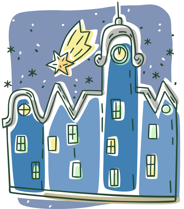 Vector Illustration of Urban Metropolitan City Buildings with Christmas Shooting Star of Bethlehem