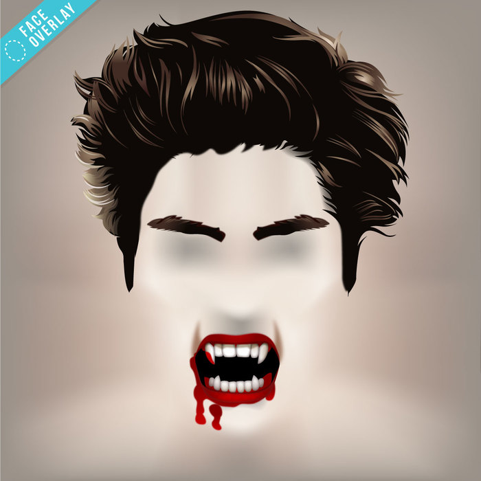 Vampire Hair and Bloody Mouth Overlay