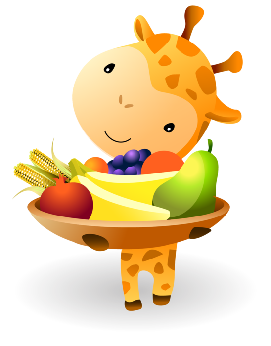Kwanzaa Baby Giraffe holding a Mazao - Fruits and Vegetables