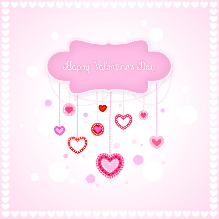 Valentine's Day Romantic Love Hearts Vector Illustration
