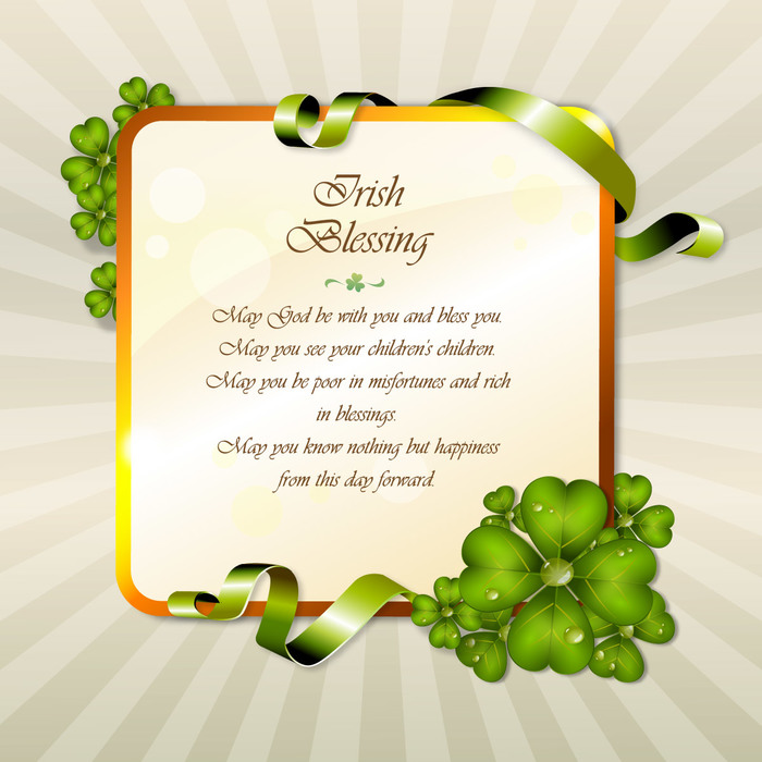 St. Patrick's Day Irish Blessing Lucky Shamrocks Vector Illustration