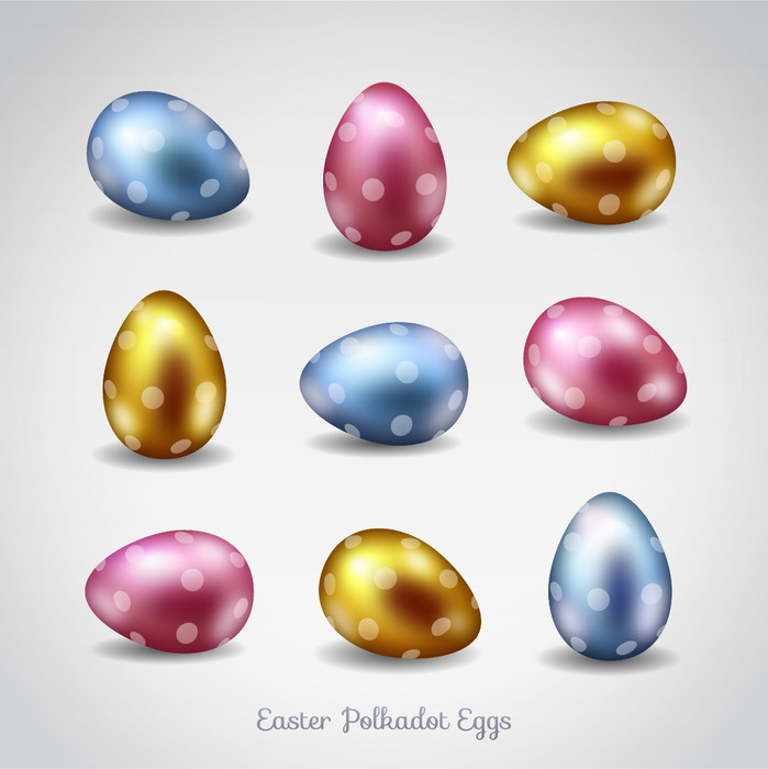 Polka Dot Metallic Easter Eggs Vector Illustration