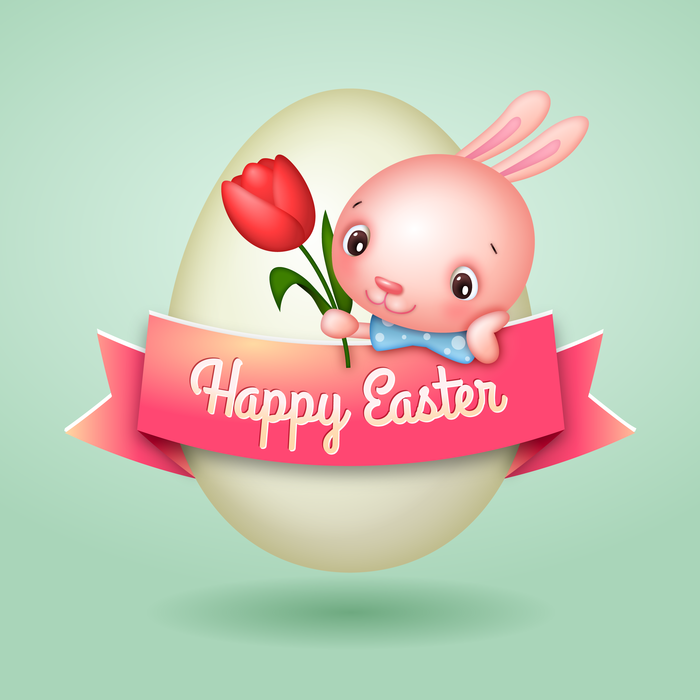 Happy Easter Egg Banner with  Bunny and Tulip Vector Illustration