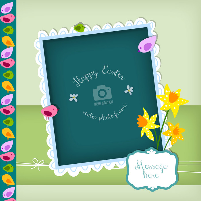 Happy Easter Decorative Vector Photo Frame Greeting Card with Daffodils