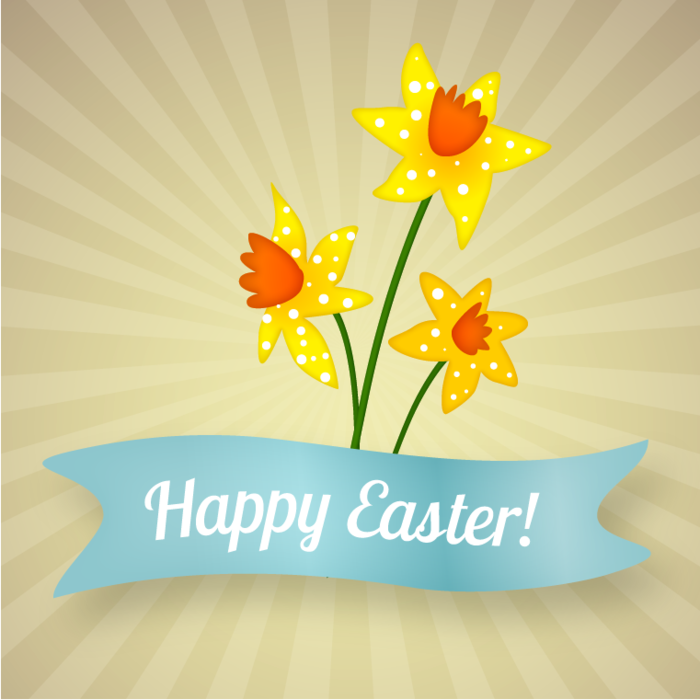 Happy Easter Banner with Daffodils