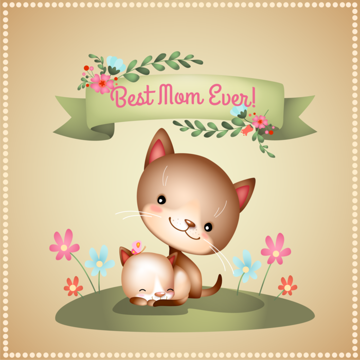 Best Mom Ever Happy Mother's Day Kittens Vector Illustration