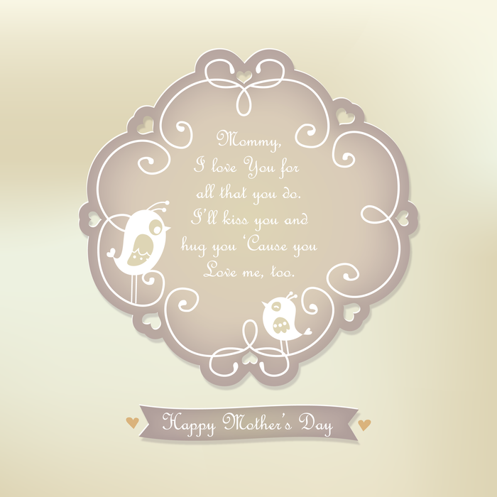 Happy Mother's Day Emblem with Hearts and Birds Vector Illustration
