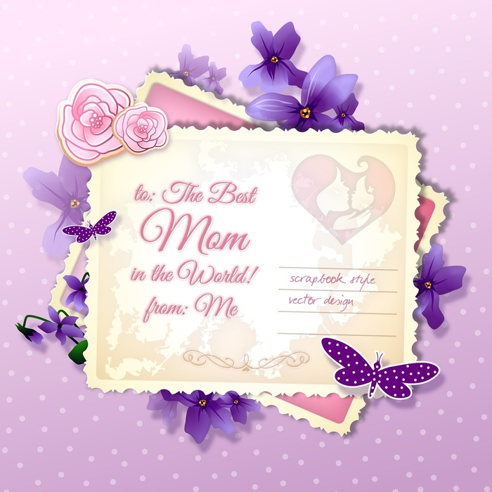 Happy Mother's Day Postcard Greetings with Violet Flowers and Butterflies Vector Illustration